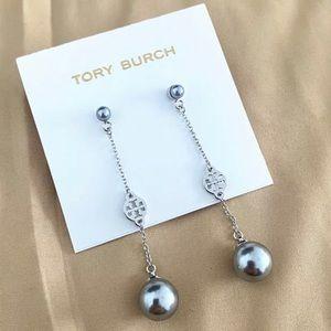 Tory Burch silver logo + double pearl earrings